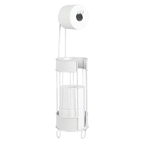 mDesign Toilettenpapierhalter stehend - moderner Papierrollenhalter fürs Badezimmer - Klopapierhalter für mehrere Rollen - mit Halter für 3 Reserverollen - weiß