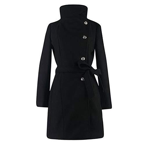 NPRADLA 2018 Herbst Mantel Damen Winter Lang Elegant Festlich Frauen Wollmantel Trench Jacke Outwear Revers Langarm Einfarbig(Schwarz,M/EU Gr.40)