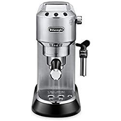 De'Longhi Dedica EC 685.M Espresso Siebträgermaschine | 15 bar | Professionelle Milchschaum Düse| Füllmenge 1 l | Vollmetallgehäuse | Auch für Pads geeignet | Silber