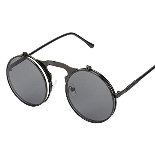 Lidahaotin Mode Flip Up Steampunk-Sonnenbrille-Männer runde Weinlese-Männer Sunglass Driving Piloten Brille Sunproof UV400# 1
