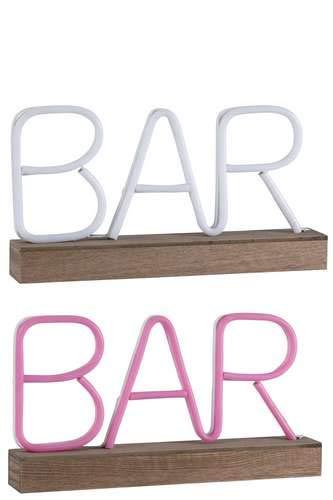 Ensemble de 2 lampes led néon bar rose et blanc