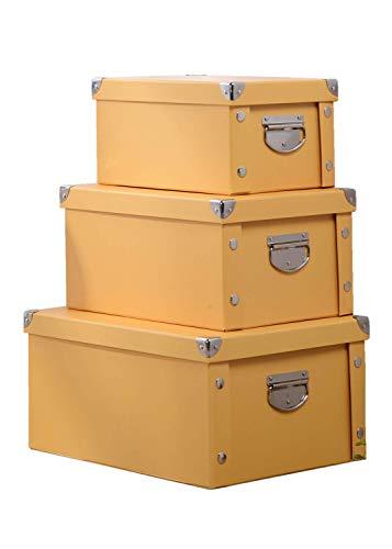 MMYOMI Caja de Almacenamiento Plegable, Cajas organizadoras, cajones, con Tapa y asa, Amarillo, 26 * 20 * 17cm