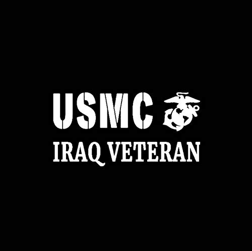 Marine Corps Applique (RJSYT 2PCS Autoaufkleber USMC Irak Veteran Vinyl Applique Auto Aufkleber Marine Corps Semper Fi 14,8 cm * 7,5 cm)