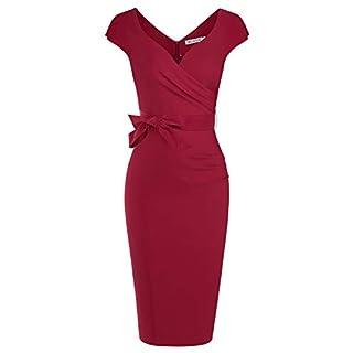 MUXXN Audrey Hepburn Style Split Sleeves High Stretchy Night Day Club Dress (Burgundy XL)