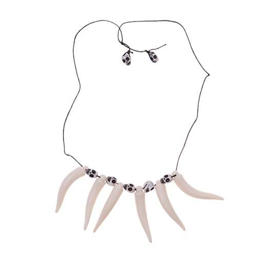 Amosfun zähne Halskette Retro Simulation Dschungel Halskette höhlenbewohner kostüm zubehör Halskette schädel anhänger schmuck für Party Cosplay Leistung