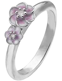 Virtue Silver Stackable VRS5009 with Two Pink Enamel Flowers with Cubic Zirconia Centre