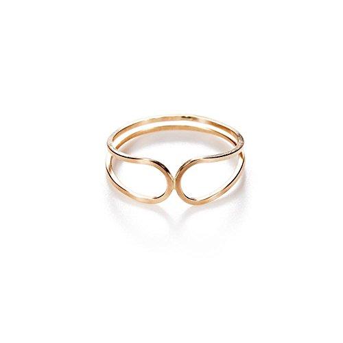 By Boe Gold Ring Damen Open Mirror - Geschwungener Ring für Frauen Tropfen goldfilled - Größe 52 - R96g-52
