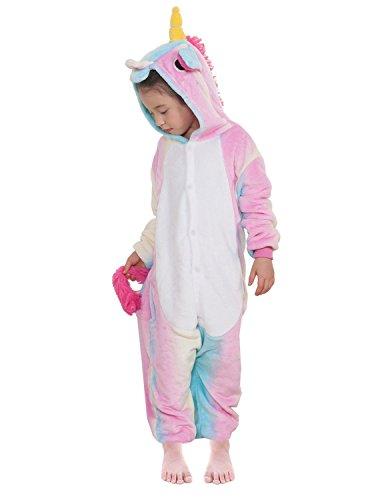 Landove pigiama intero bambina unicorno tuta flanella animale tutina costume cosplay pajama per party halloween carnevale sleepwear romper jumpsuit onepiece regalo di compleanno natale