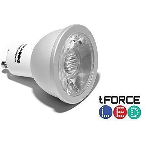 tForceLED Super brillante 6W regulable GU10COB eficiencia energética Bombilla, hermoso, Luz blanca cálida extra longlife–ángulo de haz amplio, cold-forging aluminio, tamaño y # x3C6; 50* H58mm