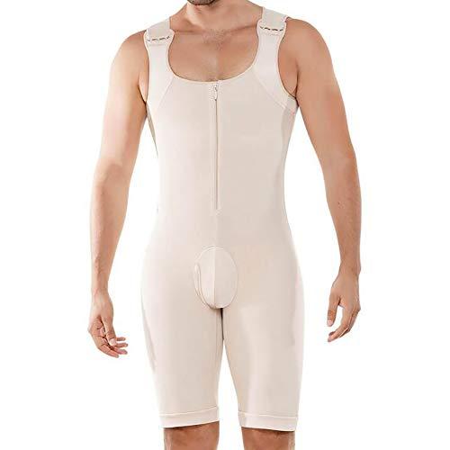 SHANGLY Herren Body Shaper Bodysuit Bauchkontrolle Shapewear Nahtlos Atmungsaktives Elastisch Jumpsuit,Skin,4XL