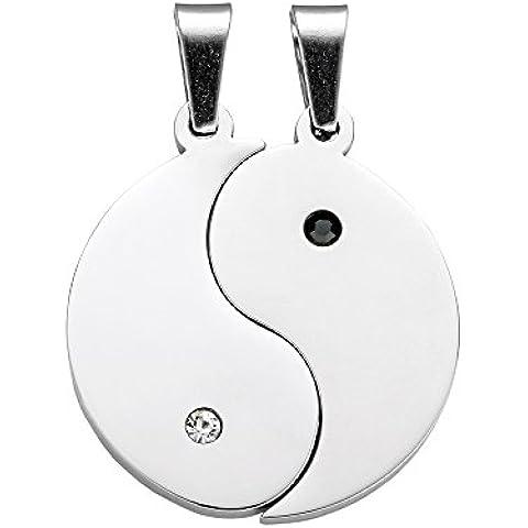 Collana con pendente – Yin e Yang - Set per lui e lei - Con incisione – Personalizzabile con nome - In acciaio inox – Argento – Da donna e uomo – Classico e eleganto – San Valentino