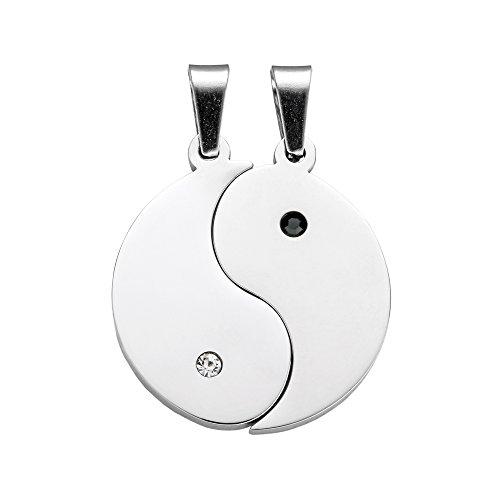 Gravado Halsketten (2er Set) aus Edelstahl mit gravierten Yin und Yang-Anhängern – Mit Schmuckstein – Inkl. Geschenkbox – Unisex Schmuck