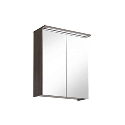 Cosmo 2 Badmöbel-Set/Komplettbad 6-teilig in Weiß Hochglanz/Avola Dekor, Waschtisch 60 cm, LED-Beleuchtung