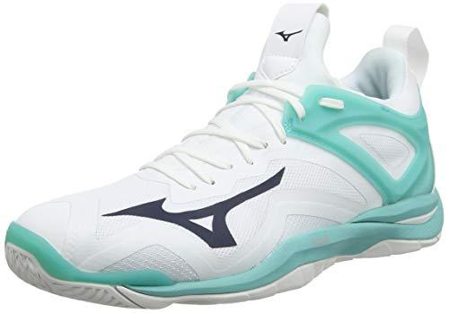 Mizuno Damen Wave Mirage 3 Handballschuhe, Weiß (White/Blueberry/BlueTurquoise 13), 40 EU