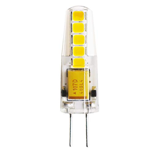 Lámparas LED G4 3W, lámpara LED bi-pin AC/DC 12V Blanco cálido 3000K 300LM, no regulable, ángulo de 360 grados -(1 pack)