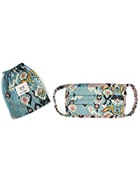 PS Pret by Payal Singhal Blue and Pink Ikat Love Print Pleated 3 Ply Mask with Pouch