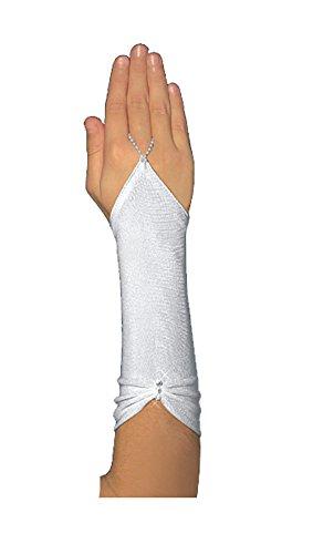 Fingerlose Kommunionhandschuhe Handschuhe zur Kommunion, Strasssteinchen, Mädchen KA-34 lang
