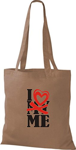 ShirtInStyle Shopper Valentinstag I Love ME hellbraun
