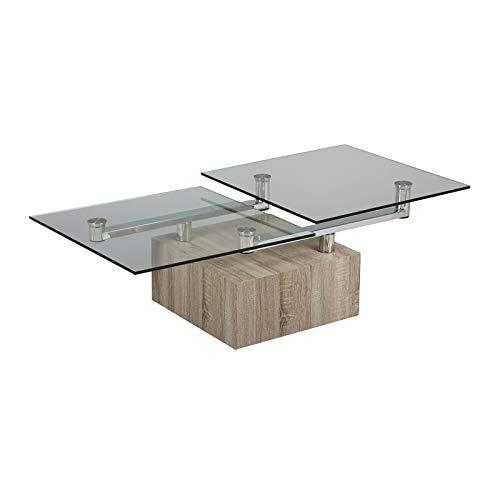 Tousmesmeubles Table Basse articulée Bois/Verre - Fritz - L 130 x l 65 x H 40 - Neuf
