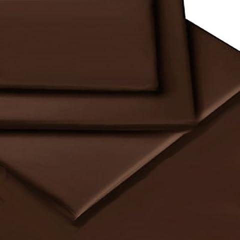Linens Limited - Cubre canapé para cama individual (90 x 190 cm, percal de algodón de 180 hilos), color marrón