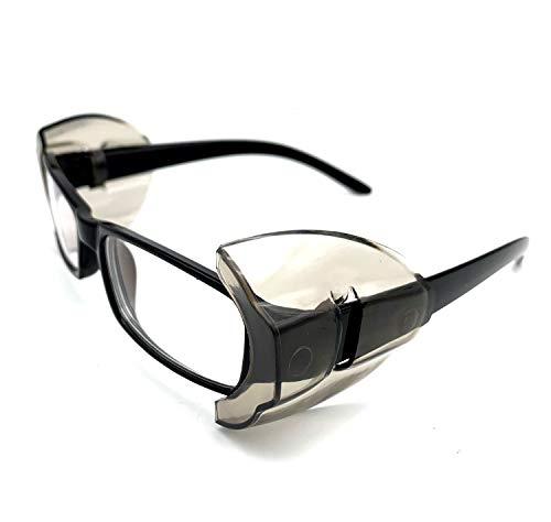 KOSTOO Schutzbrille, 2 Paar, rutschfest, durchsichtige graue Seitenschutzfolien für Schutzbrillen, Augenschutz - passend für mittelgroße bis große Brillen, weiß