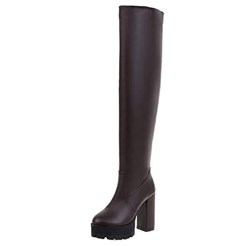 AIYOUMEI Blockabsatz Overknee Stiefel Stretch Overkneestiefel High Heels Boots Winterstiefel Langschaft Damen Braun 40 EU -