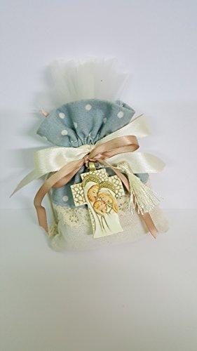 Bomboniere sacchettino completi con croce sacra famiglia + bigliettino bomboniere prima comunione battesimo