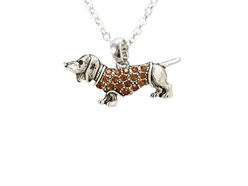 dachshund-weenie-dog-breed-brown-crystal-charm-silver-chain-necklace-jewellery-by-sports-accessory-s