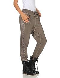 Damen Hose Freizeithose Jogginghose Sportswear Style Stoffhose Baumwollhose  Sweatpants Boyfriend mit Seitlichen Spitzenstreifen One Size S M L 8d7d66bd48