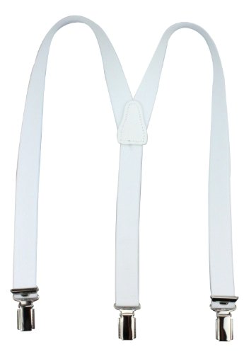 Bretelles pour enfants de haute qualité avec empiècement en vrai cuir Blanc
