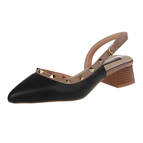feiXIANG Damen Sandalen mit Nieten Chunky Heels Pumps Blockabsatz Freizeitschuhe Pointed Toe Business Sandaletten (Schwarz,35)
