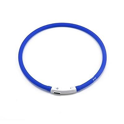 MultiWare Leuchthalsband Für Hunde Aufladbar Blau Hundehalsband LED USB Halsband Hunde Leuchtend Sicherheitshalsband für Hund Katzen