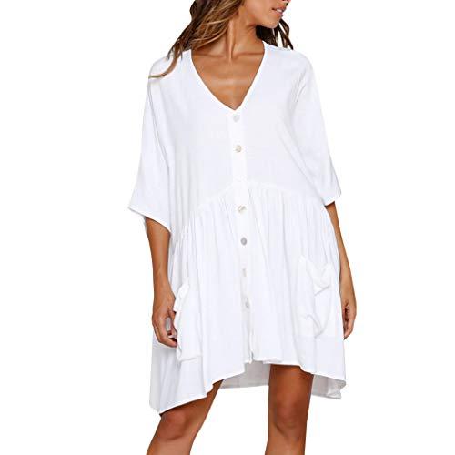 Frauen sexy Mode tiefem V-Ausschnitt Volltonfarbe beiläufige Knopf Tasche Hemd Kleid Hucode...