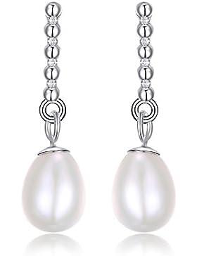 JewelryPalace Süßwasser Kultiviert 5-7mm weiß Perle Baumeln Ohrringe Ohränger 925 Sterling Silber