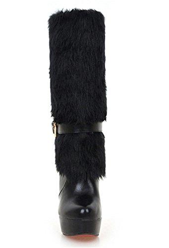 YE Damen Blockabsatz High Heels Plateau Halbschaft Stiefel mit Fell Winter Warm gefüttert Fashion Elegant 12cm Absatz Boots Schwarz
