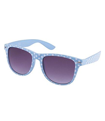 SIX 'Trend Retro Sonnenbrille in hellblau mit weißen Polkadots (324-245)