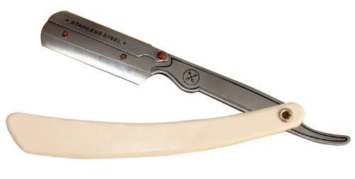 Parker 34R Stainless Steel Straight Edge Barber Razor and Shark Super Stainless Half Blades