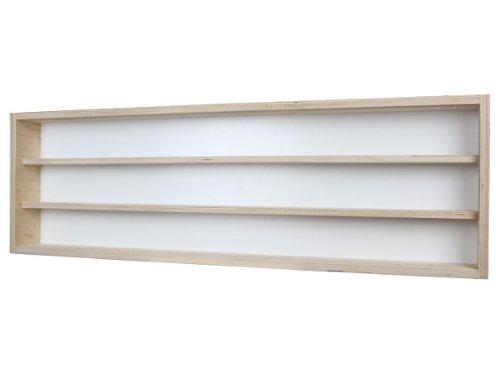 V125.3- Vitrine murale 125 cm x 30 cm x 8,5 cm collection Décoration murale- tapisserie rouleau -Rayonnages de jouets Atelier du Père Noël miniature moto collecteur dé à coudre tableau d'affichage train pion petit objet jouet enfant mini nain de jardin schtroumpf vitres en plexiglas clair meuble rangement étagère armoire placard bois nature petite bouteille