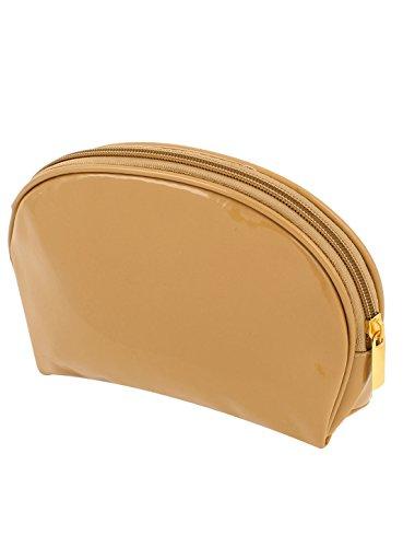Sourcingmap Femmes en faux cuir Kaki Fermeture glissière Maquillage Cosmétique pouceschette Sac à main pièces