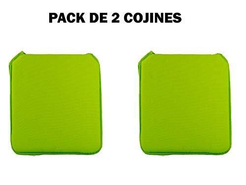Catay Home Pack de 2 Cojines Cuadrados para Silla en 9 Colores Disponibles 38x39,8x2,5 Centímetros (Pistacho)