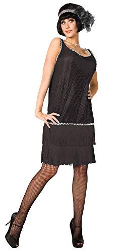 Fancy Me Damen Schwarz 1920er 20er Jahre Flapper-Tänzerin Great Gatsby Kostüm Outfit (1920 Tänzerin Kostüm)
