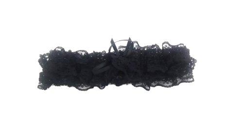 Bräute schwarzer Spitze Strumpfband mit roter Schleife[Black with black bow]