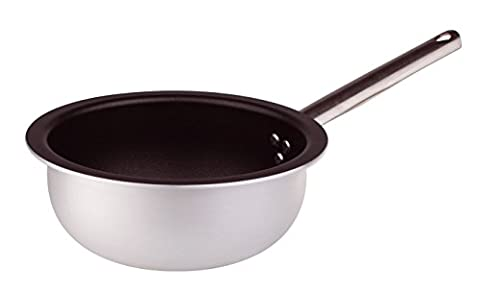 Pentole Agnelli Deep Pan, Aluminium, Thickness 3 mm, Rounded Base with Tubular Handle in Stainless Steel, Silver-Coloured 28 Cm
