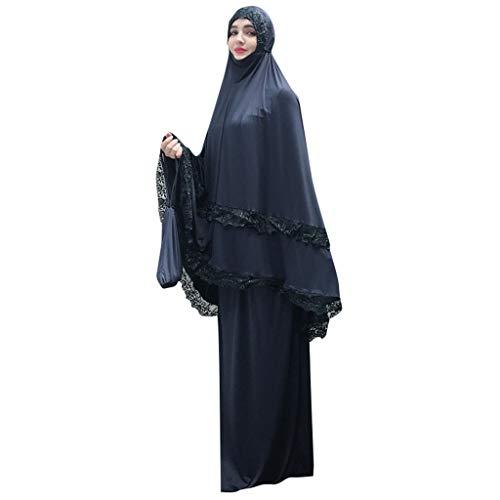 Lazzboy Moslemische Frauen-Doppelschicht-moschee-Spitze-Roben Großen Maßstab Dubai-Strickjacke Ramadan Muslime Kleidung Muslim Abaya Muslimische Kleid Kleider Weibliche Robe Cardigan(Marine) (Deutsche Flagge Kleid)