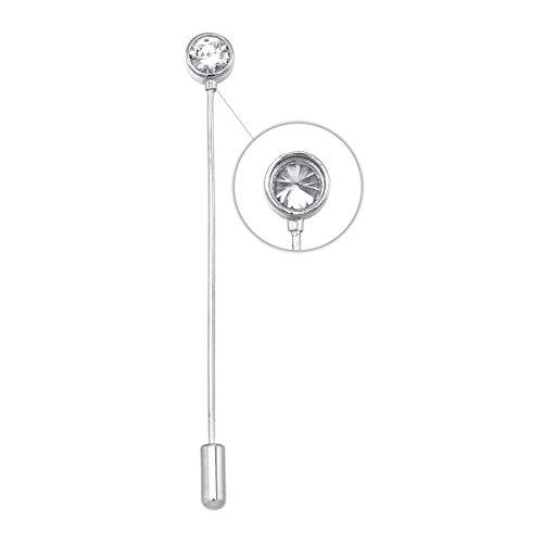 Einfach Strass Stick Brosche Pin Silber Ton Anzug Krawatte Hat Schal Anstecker Brosche Schmuck