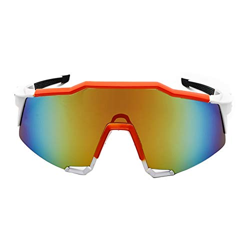 Duk3ichton Outdoor UV400 Polarized Radsportbrille Sonnenbrillen Fahrradbrillen Eyewear - Weiß + Orange