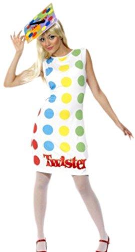 Karnevalsbud - Damen Karnevalskostüm Twister-Kleid mit passender Kopfbedeckung, M, Weiß-bunt