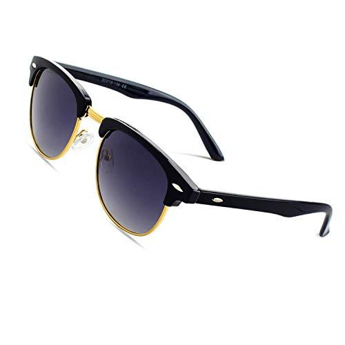 CGID MJ56 clubma Retro Vintage Sonnenbrille im angesagte 60er Browline-Style mit markantem Halbrahmen Sonnenbrille,Silber-Violett