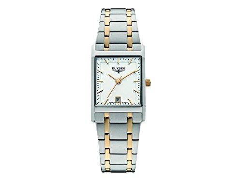 ELYSEE Women's Square Lady Multicolor Two Tone Steel Bracelet Steel Case Quartz Analog Watch 83806