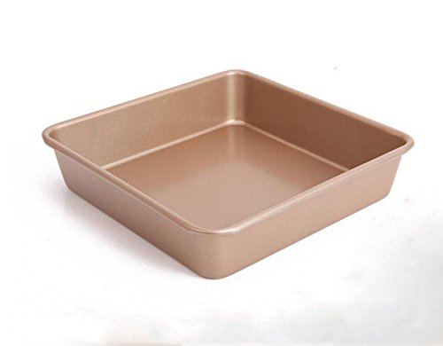 Gold 8 Pulgadas Sólido Inferior Sartén Antiadherente Moldeo Pan Torta,23.8*23.8*5.2cm